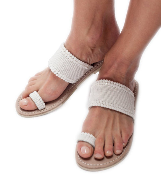 Beaded Sandal: White