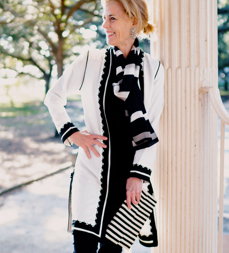 The Sefrou Jacket: White with Black