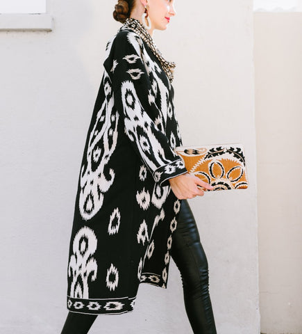 Women's Moroccan Jacket: White on Black