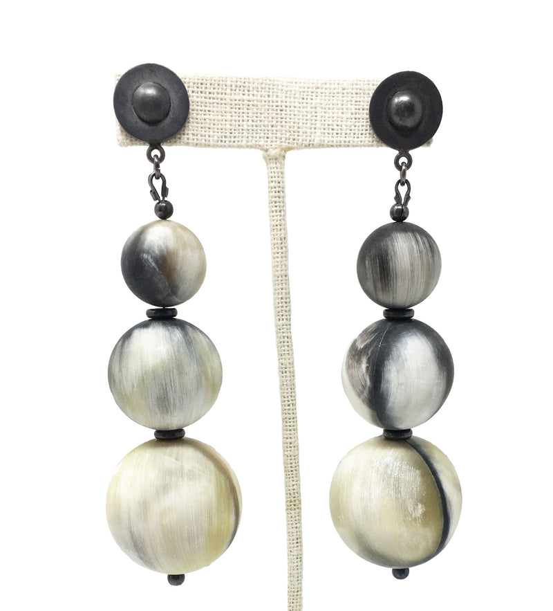 Three Orb Earrings: Silver
