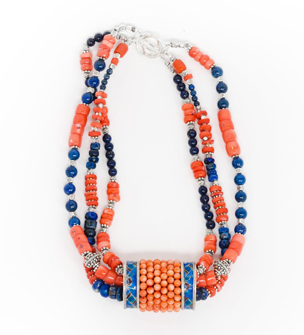 Tibetan Braid Ornament with Coral and Lapis Necklace