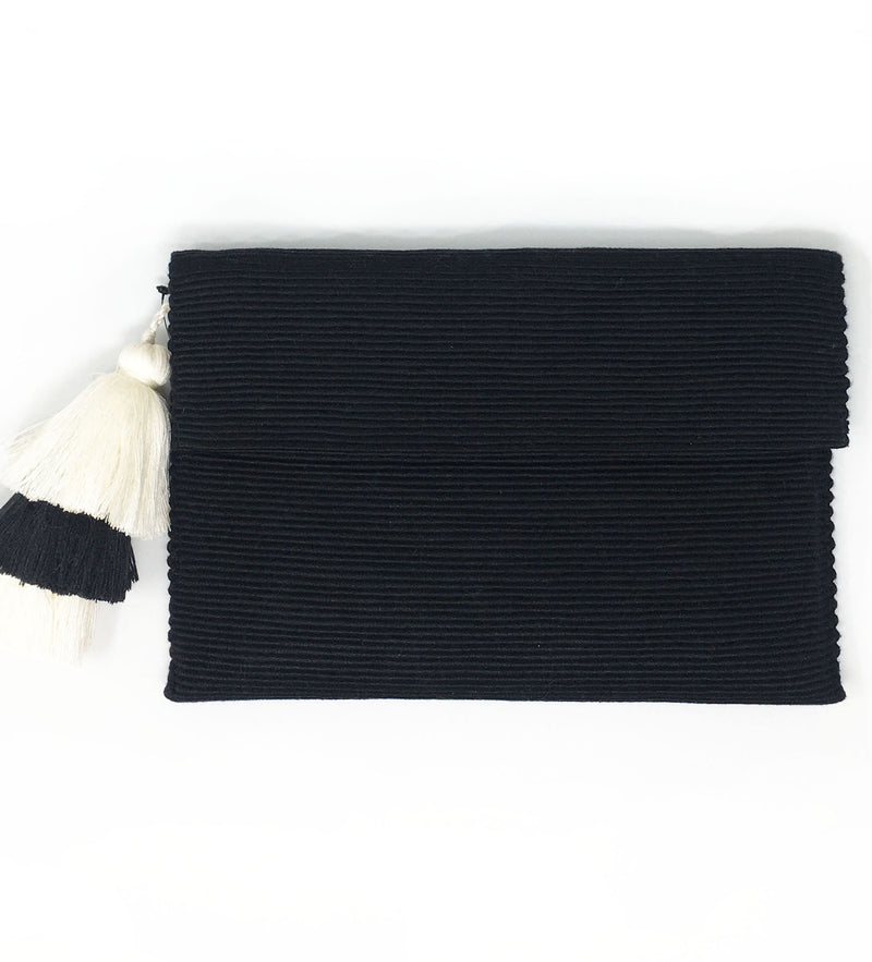 Triple Tassel Clutch: Black and White