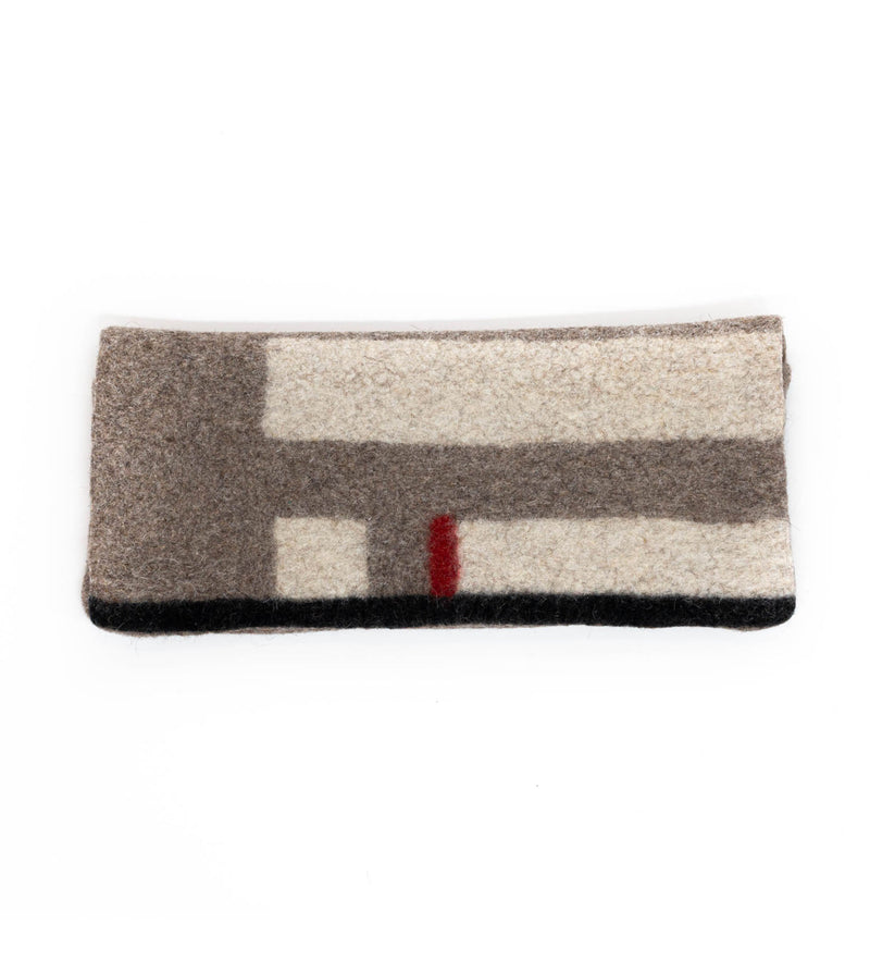 Tumar Felted Clutch: Grey, White, and Red