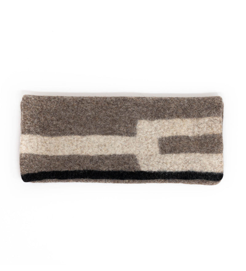 Tumar Felted Clutch: Grey and White