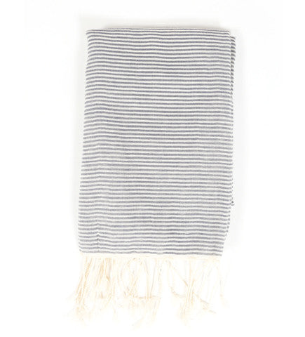 Tunisian White Mix Stripe Scarf