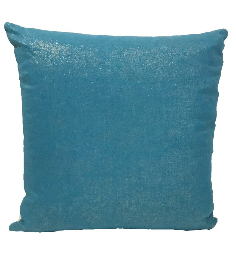 "Turquoise African Strip Weaving Pillow: 16"" Square"