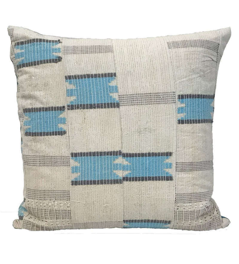 "Turquoise African Strip Weaving Pillow: 20"" Square"