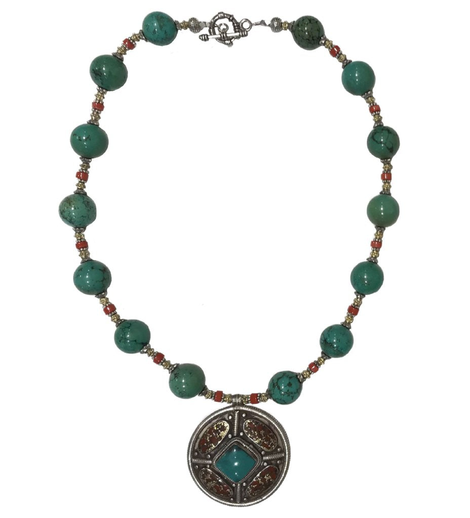 Turquoise and Coral Beaded Necklace with Pendant