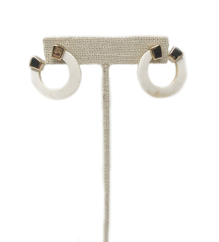 Small Fringe Crescent Earring: White