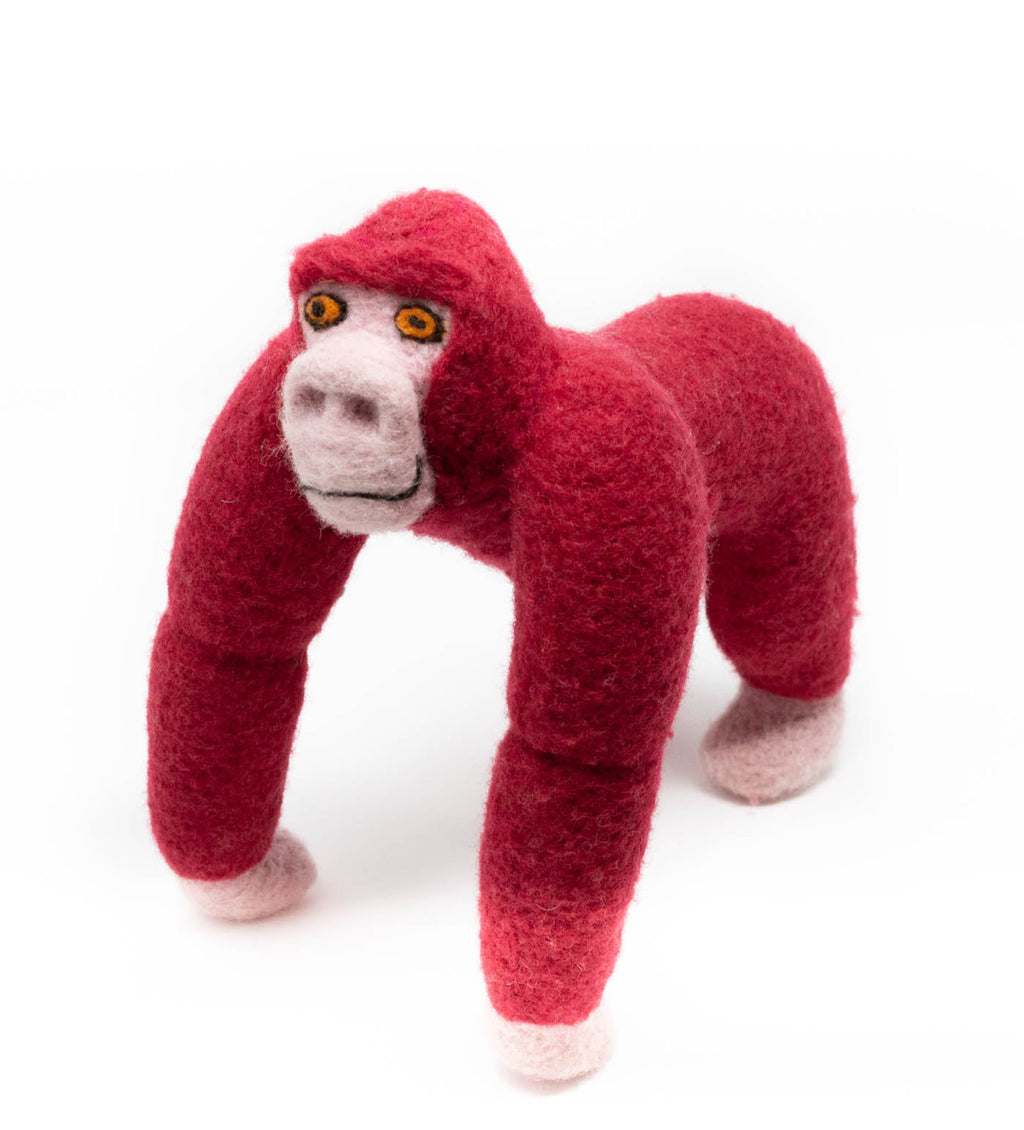 Raspberry Felted Gorilla Toy and Ornament Gift Set