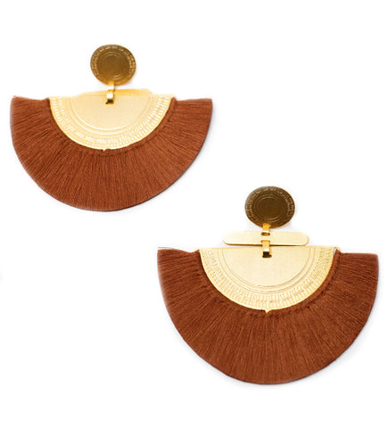 Small Fringe Crescent Earring: Terracotta
