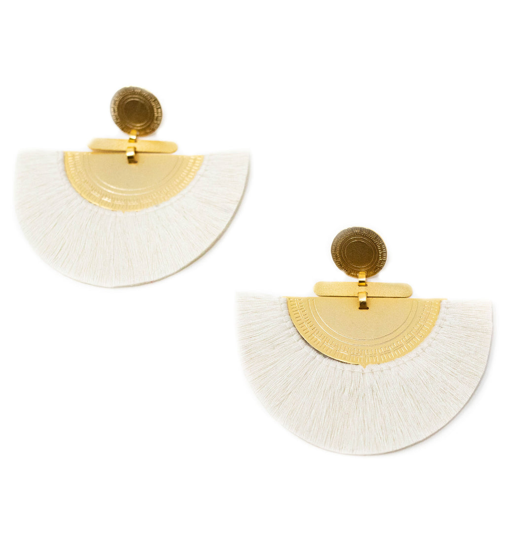Fringe Crescent Earring: White