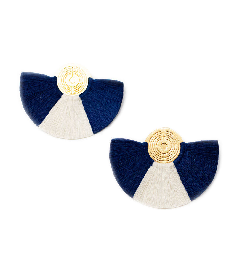 Small Fringe Crescent Earring: Navy and White
