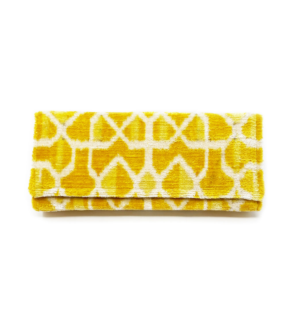 Fold Over Velvet Ikat Clutch: Gold Tile