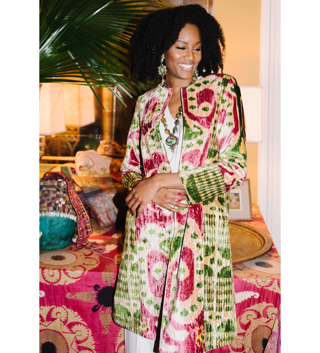 Velvet Ikat Holiday Coat: Green and Pink
