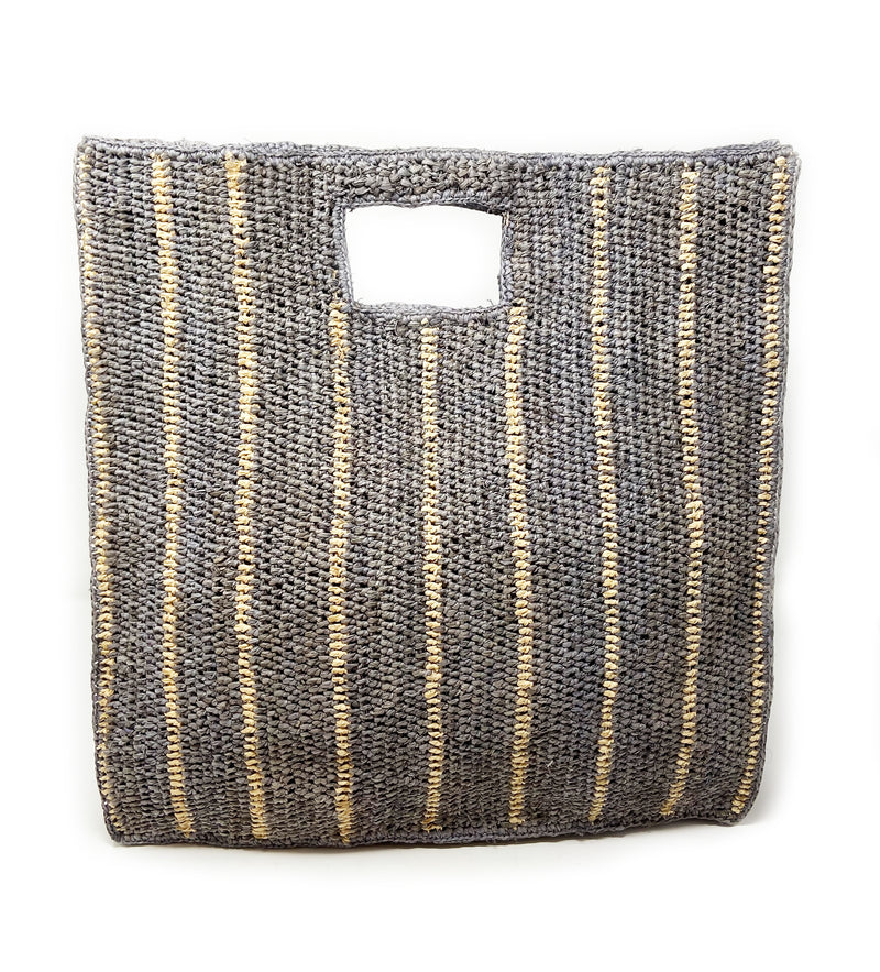 Veneto Tote: Dove with Natural Stripes