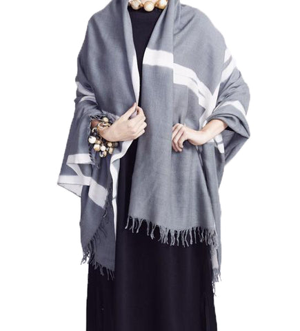 Six Paddles Tai Muang Silk Shawl: Black