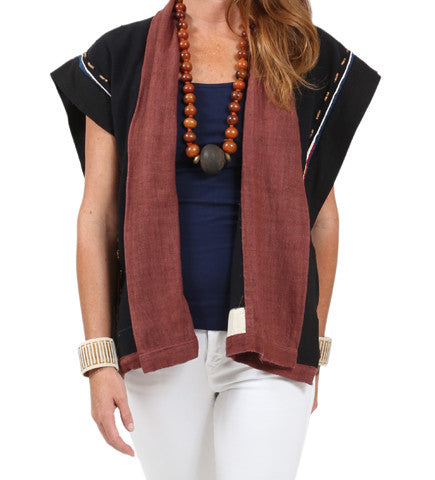 Embroidered Back Vest with Beads
