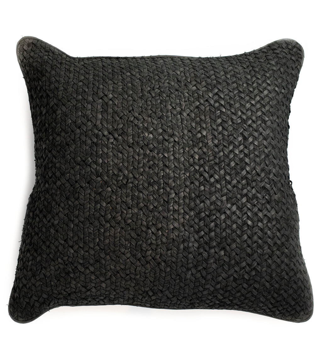 Wabi Sabi Leather Pillow: Black