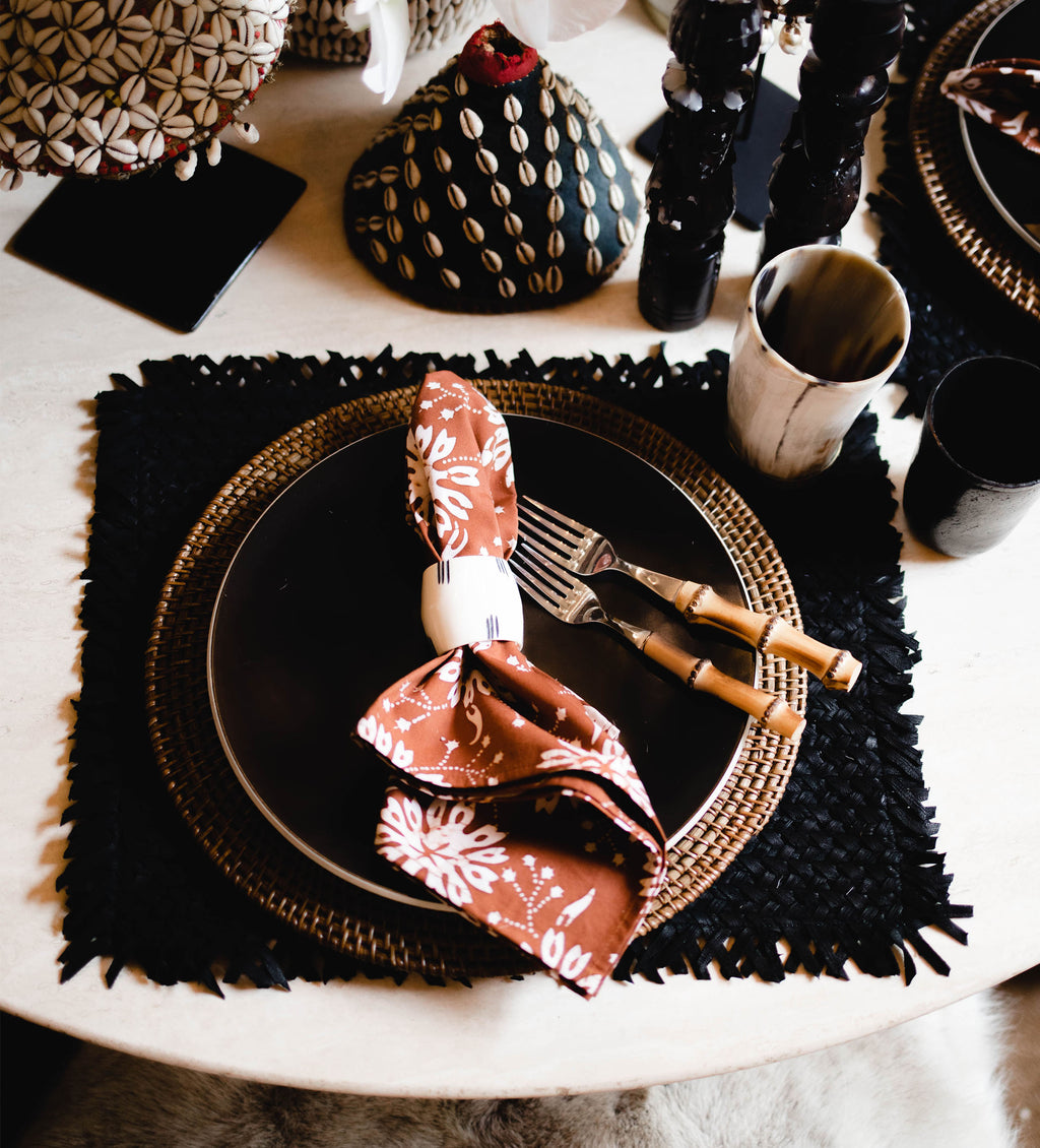 Wabi Sabi Leather Placemat: Black