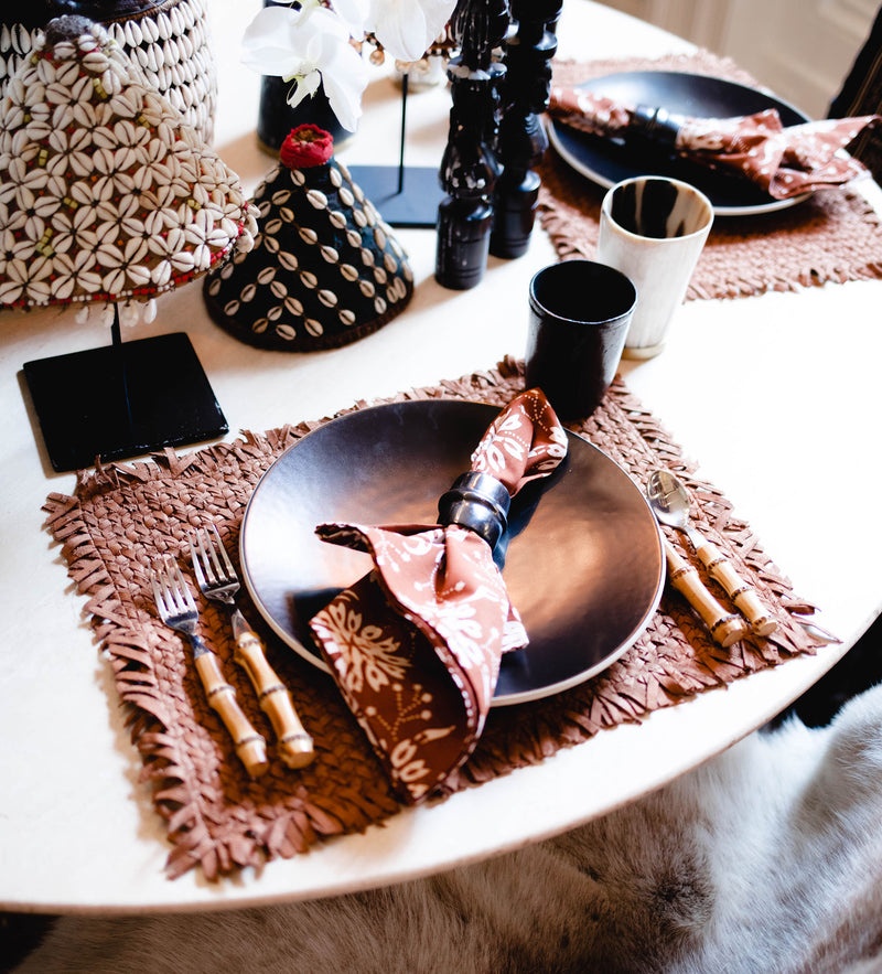 Wabi Sabi Leather Placemat: Camel