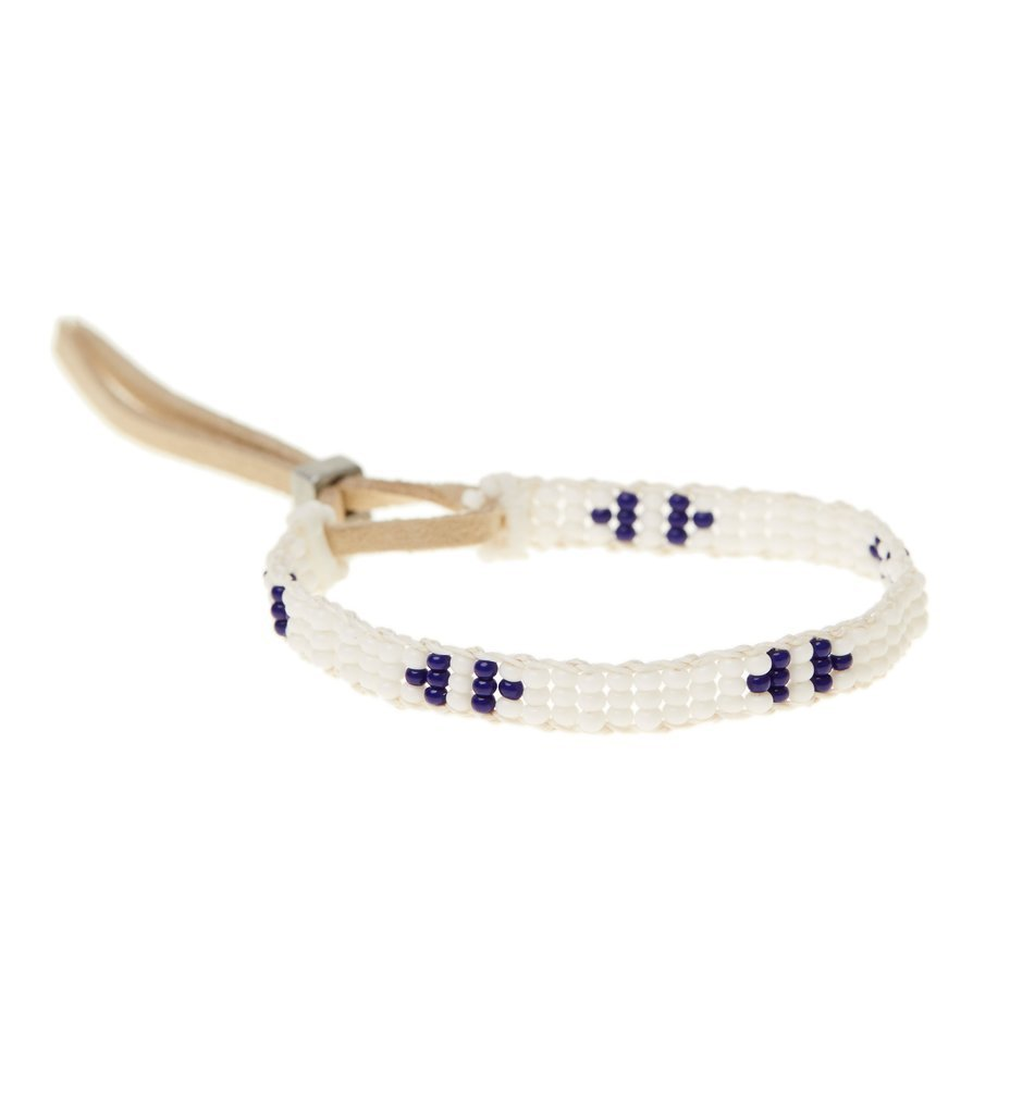 Extra Small Mayan Warrior Bracelet: Navy and White