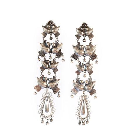 Whimsical Mexican Silver Bird Earrings: Medium