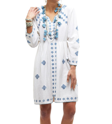 The Summer Day Dress: White/Blue