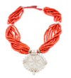 Whiteheart Red Glass Bead Pendant Necklace