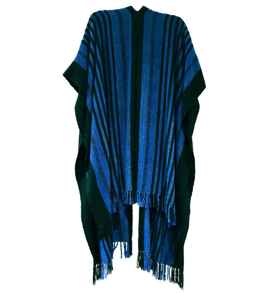 Wild Silk Long Ruana: Black/Blue