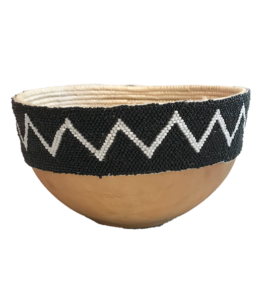 Wooden Beaded Bowl