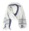 Woven Border Scarf: Indigo on White