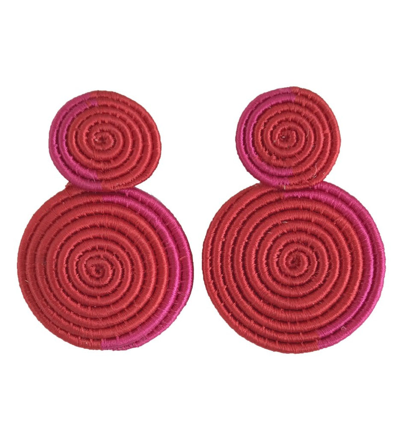 Woven Double Circle Earring: Fuchsia and Red