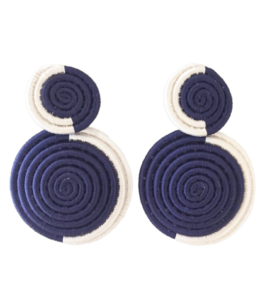 Woven Double Circle Earring: Navy and White