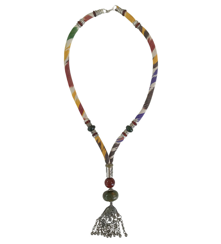 Woven Ikat Necklace with Agate and Cornelian Pendant