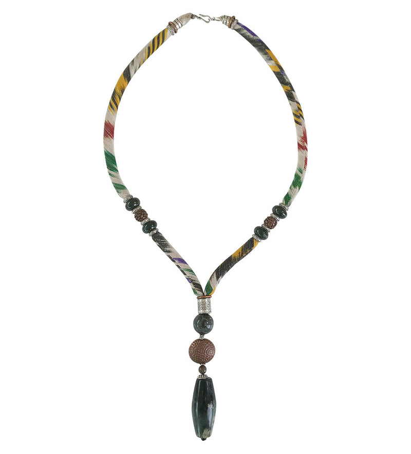 Woven Ikat Necklace with Moss Agate and Copper Pendant