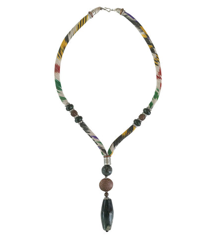 Luminescent African Glass Beads: Green Double Strand