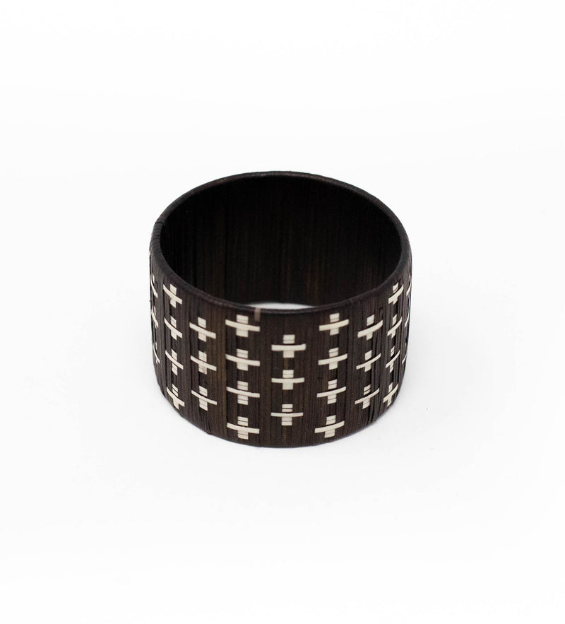 Woven Napkin Ring: Brown Cross
