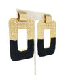 Woven Rectangular Earring: Black