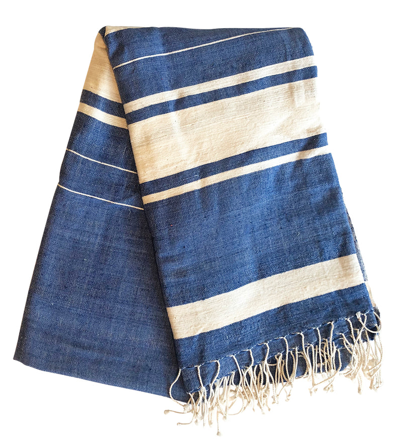 Woven Sun Beach Towel: Blue with Natural