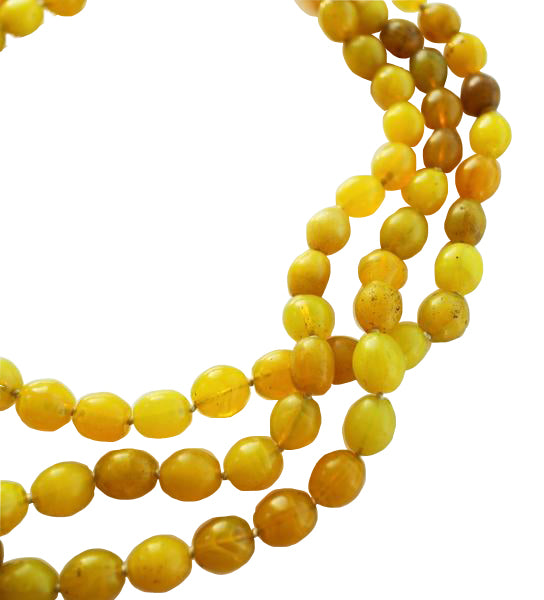 Luminescent African Glass Beads: Yellow Triple Strand