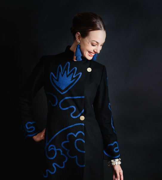 Zolayka Coat: Black with Blue
