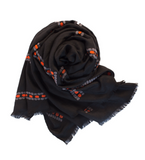 Nora Embroidered Shawl: Black
