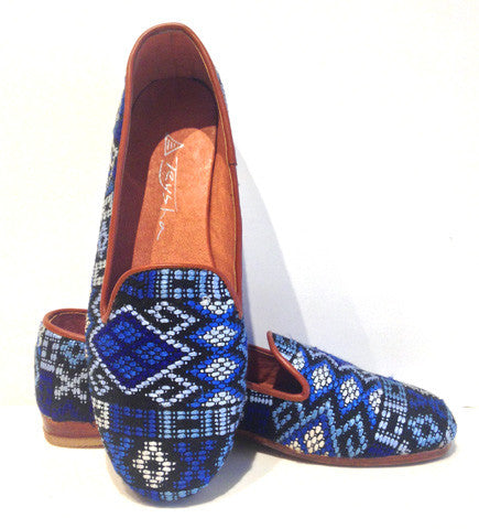 Fiesta Smoking Slippers: Blue