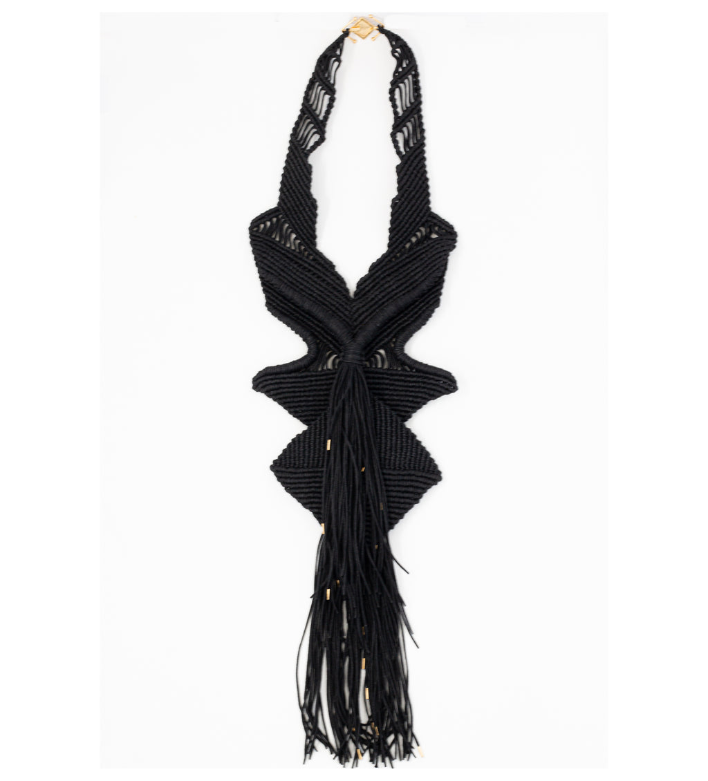 Macrame Statement Necklace: Black