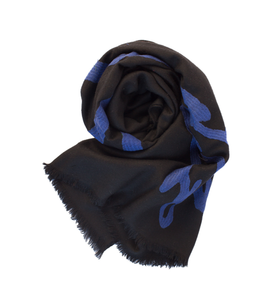 Peace Shawl: Black with Blue