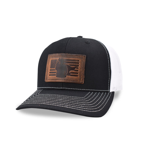 Leather Patched Trucker Hat- Hero Flag
