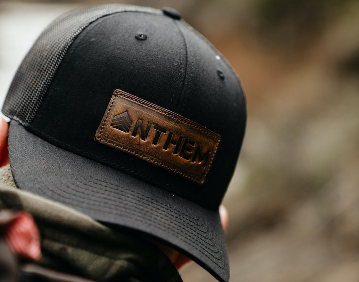 Leather Patch Trucker Hat- Vintage Logo