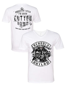 Bearded Outlaw White V-Neck soft material