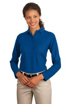 Embroidered National Federation of the Blind - Ladies Long Sleeve Silk Touch™ Interlock Polo